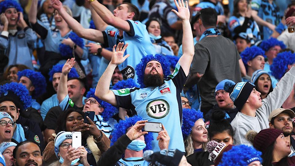 NSW fans, pictured here celebrating at Suncorp Stadium during State of Origin II.