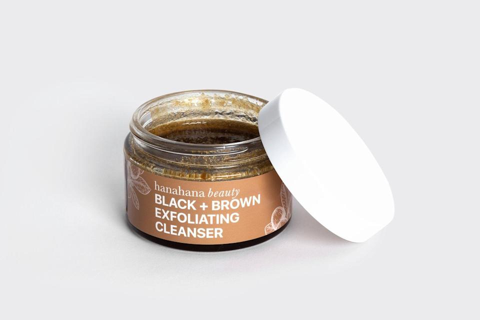 """<p><strong>Hanahana Beauty</strong></p><p>hanahanabeauty.com</p><p><strong>$22.00</strong></p><p><a href=""""https://hanahanabeauty.com/collections/shop-all/products/black-brown-scrub-1"""" rel=""""nofollow noopener"""" target=""""_blank"""" data-ylk=""""slk:Shop Now"""" class=""""link rapid-noclick-resp"""">Shop Now</a></p><p>Anyone who takes care of their skin knows how essential exfoliating cleansers are. Many say that this all-natural cleanser leaves the skin feeling soft and moisturized, and it has a 5-star rating on the site. The formula includes black soap and brown sugar for gentle exfoliation.</p>"""