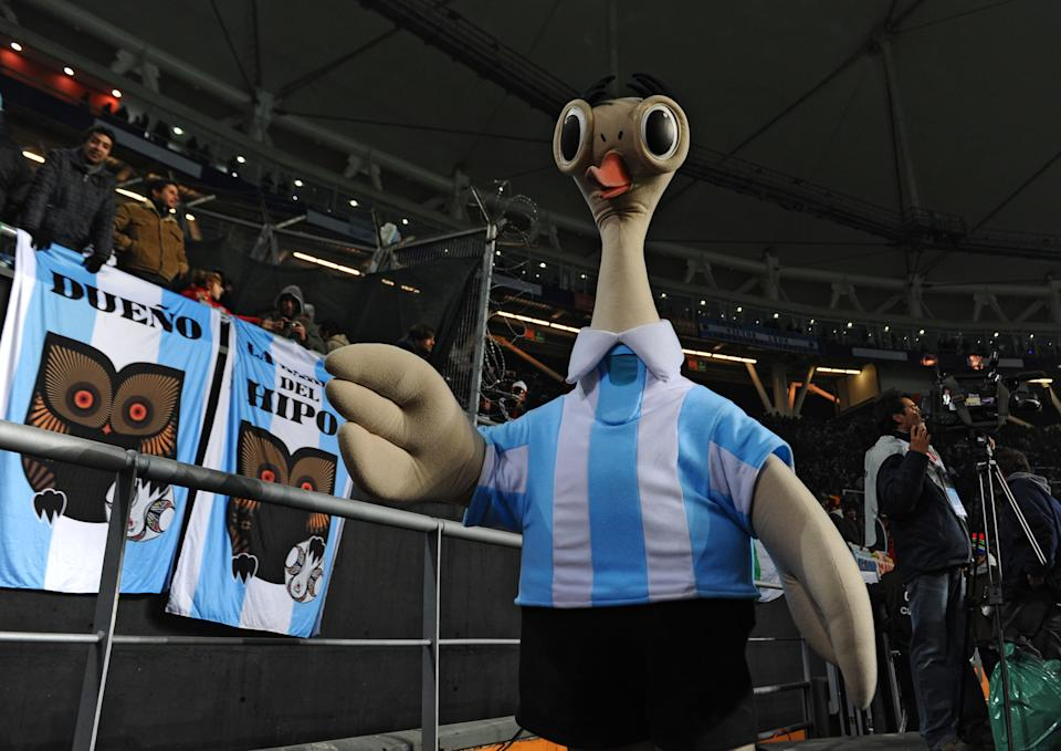 Suri was the mascot at Copa America in 2011. It was meant to be an ostrich, one that is permanently surprised by the looks of it.