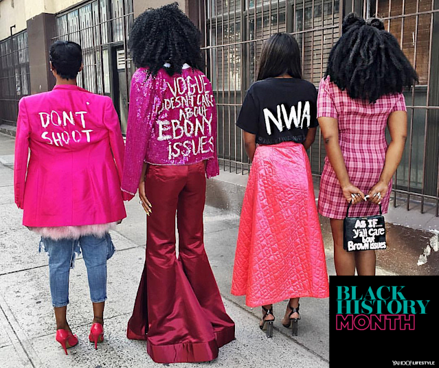 "Shayla Hill in her ""Vogue Doesn't Care About Ebony Issues"" jacket — with sister April Joi to her right, and two friends — during New York Fashion Week September 2016. (Photo: Courtesy of Shayla Janel Hill/Curtis Williams)"