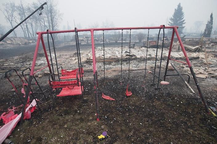 The remains of partially-melted swing set sit in a residential neighborhood heavily damaged by a wildfire on May 7, 2016 in Fort McMurray, Alberta, Canada (AFP Photo/Scott Olson)