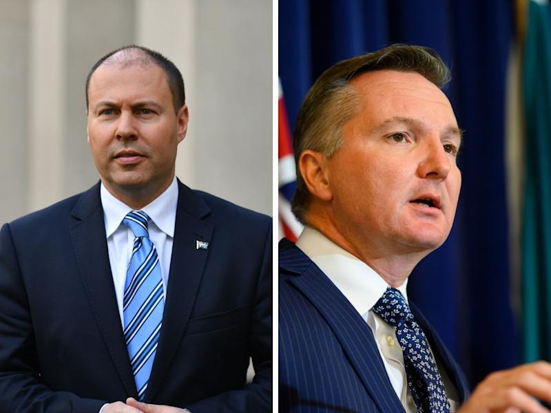A picture of Liberal Treasurer Josh Frydenberg and shadow treasurer Chris Bowen from the Labor party in the run up to the 2019 federal election.