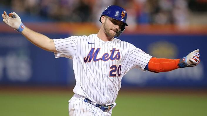 Jul 9, 2021; New York City, New York, USA; New York Mets first baseman Pete Alonso (20) reacts as he rounds the bases after hitting a three-run home run against the Pittsburgh Pirates during the sixth inning at Citi Field.