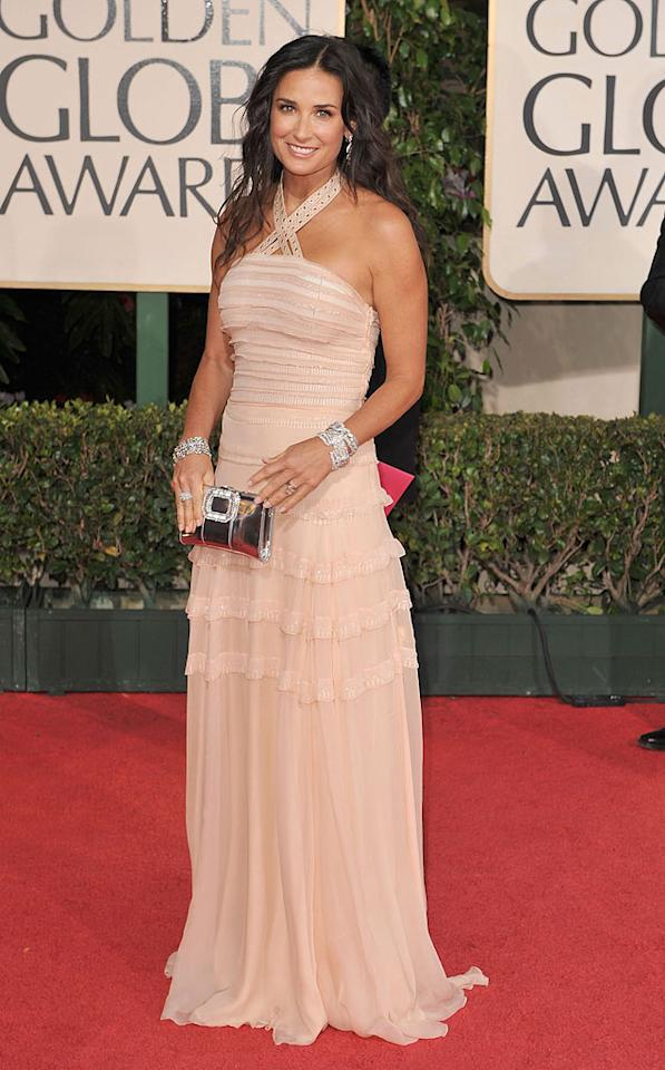 """Demi Moore glowed in a natural-colored Dior halter gown. Steve Granitz/<a href=""""http://www.wireimage.com"""" target=""""new"""">WireImage.com</a> - January 11, 2009"""