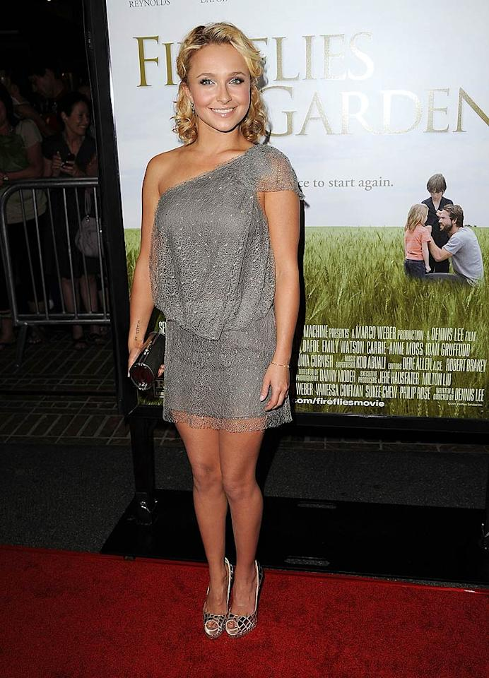 "Hayden Panettiere is very short, so it's difficult for her to find outfits that don't make her appear too tiny. She succeeded in selecting this bedazzled Jenny Packham mini -- and Louboutin peep-toes -- for the Los Angeles premiere of ""Fireflies In The Garden."" (10/12/11)"