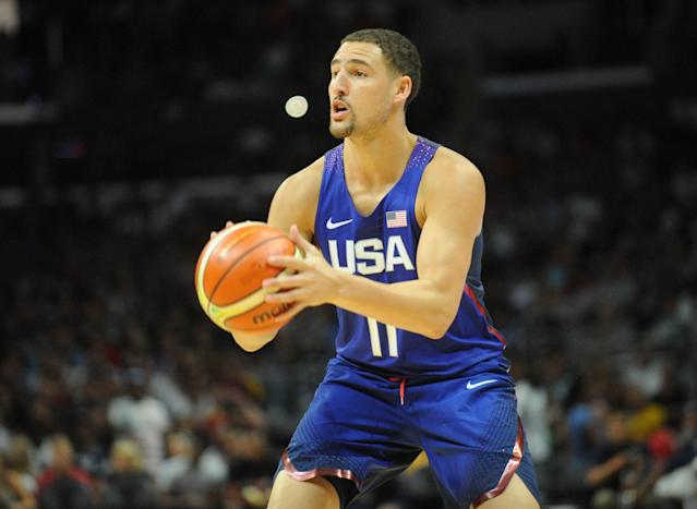 "<a class=""link rapid-noclick-resp"" href=""/nba/players/4892/"" data-ylk=""slk:Klay Thompson"">Klay Thompson</a> is one of three Warriors on Team USA. (Reuters)"