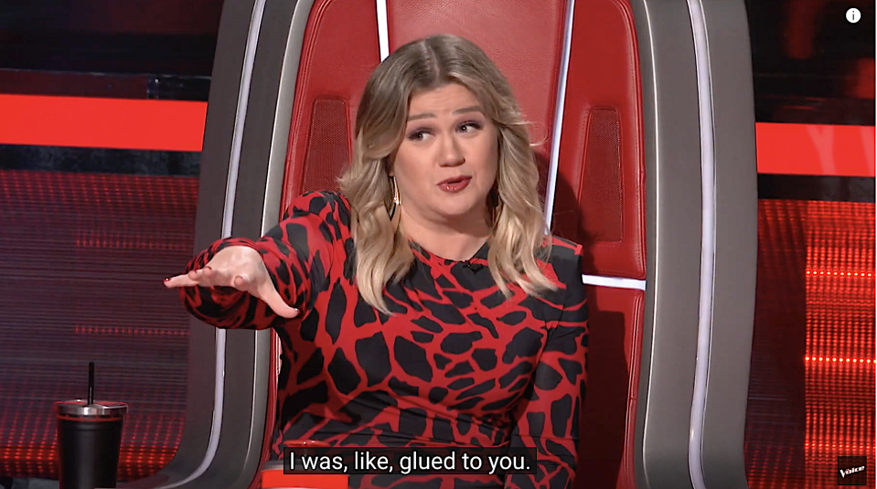 Kelly Clarkson is riveted on 'The Voice.' (Photo: NBC)