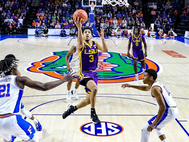 Tremont Waters (3) is averaging 15.3 points per game for LSU. (AP Photo/Gary McCullough)