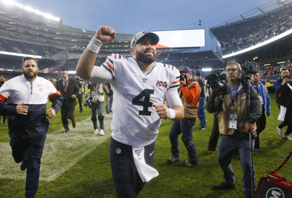 CHICAGO, ILLINOIS - SEPTEMBER 29:  Chase Daniel #4 of the Chicago Bears celebrates his team's 16-6 win over the Minnesota Vikings at Soldier Field on September 29, 2019 in Chicago, Illinois. (Photo by Nuccio DiNuzzo/Getty Images)