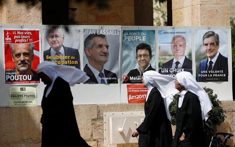 Orthodox nuns after casting their vote at the French Consulate in Jerusalem, Israel