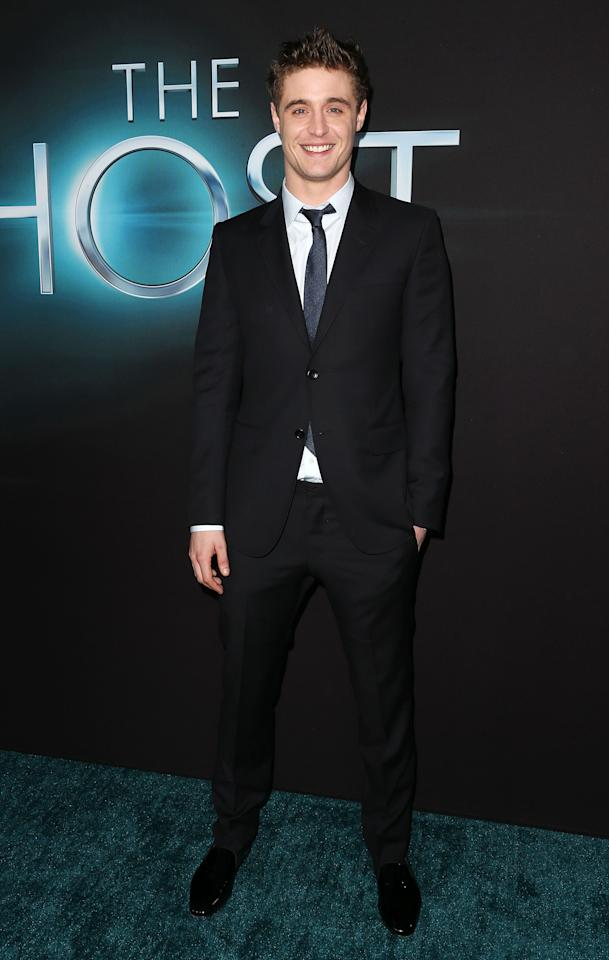 """HOLLYWOOD, CA - MARCH 19: Actor Max Irons attends the Premiere of Open Roads Films """"The Host"""" at the ArcLight Cinemas Cinerama Dome on March 19, 2013 in Hollywood, California.  (Photo by Frederick M. Brown/Getty Images)"""