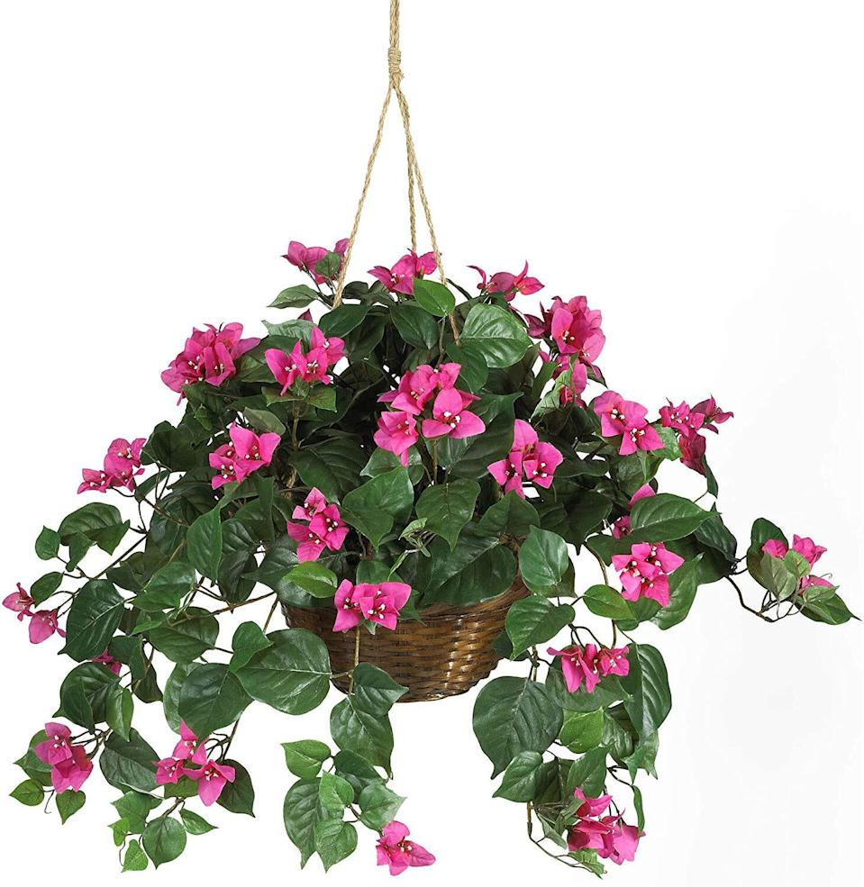 Nearly Natural Bougainvillea Hanging Basket