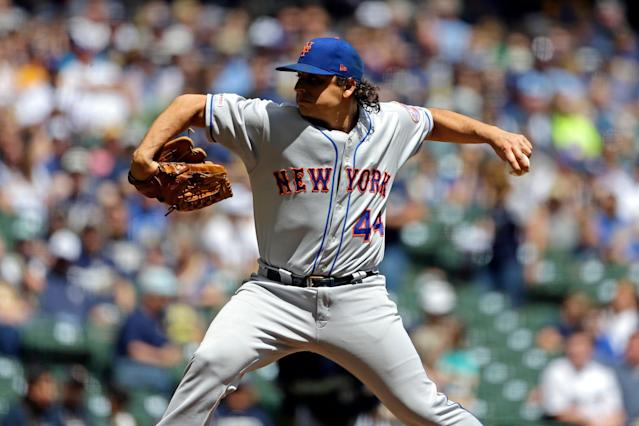 """<a class=""""link rapid-noclick-resp"""" href=""""/mlb/players/7599/"""" data-ylk=""""slk:Jason Vargas"""">Jason Vargas</a> was pulled after four innings in his last start on May 5 in Milwaukee. (AP Photo/Aaron Gash)"""