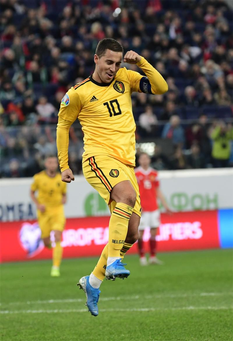 SAINT PETERSBURG, RUSSIA - NOVEMBER 16 : Goal of Eden Hazard midfielder of Belgium during the European Qualifier Group I match between Russia and Belgium at the Gazprom Arena stadium on November 16, 2019 in Saint Petersburg, Russia, 16/11/2019 ( Photo by Peter De Voecht / Photonews via Getty Images)