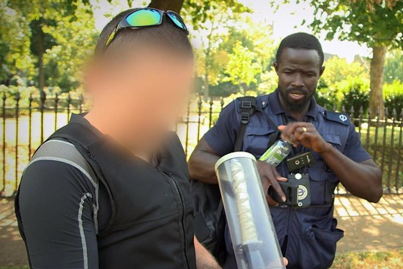 Officers with a knife confiscated while on patrol