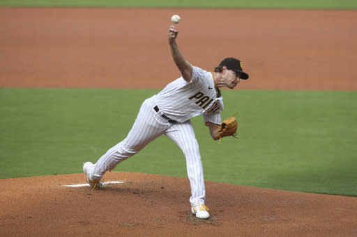 San Diego Padres starting pitcher Garrett Richards delivers against the San Francisco Giants in the first inning of a baseball game Sunday, Sept. 13, 2020, in San Diego. (AP Photo/Derrick Tuskan)