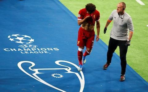 <span>Mohamed Salah heads down in the tunnel in Kiev </span> <span>Credit: Reuters </span>