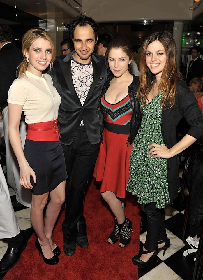 """Designer Zac Posen found himself flanked by three lovely ladies -- Emma Roberts, Anna Kendrick, and Rachel Bilson -- at the Beverly Hills launch of his new Z Spoke line at Mr. Chow. Although the collection, which will be exclusively available at Saks Fifth Avenue, is supposed to be more affordable, a T-shirt still starts at $78! John Shearer/<a href=""""http://www.wireimage.com"""" target=""""new"""">WireImage.com</a> - February 27, 2010"""