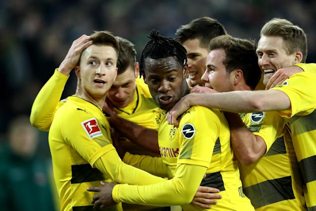 "On Sunday at Borussia Monchengladbach, <a class=""link rapid-noclick-resp"" href=""/soccer/players/marco-reus/"" data-ylk=""slk:Marco Reus"">Marco Reus</a> scored his first goal since May. (Getty)"