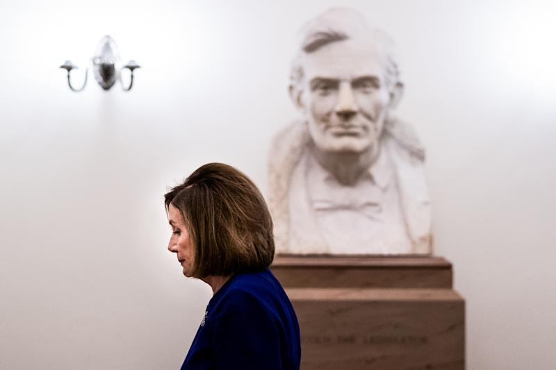 House Speaker Nancy Pelosi (D-Calif.) walks past a bust of President Abraham Lincoln as she walks to her office at the Capitol in Washington on Tuesday, Sept. 24, 2019. (Erin Schaff/The New York Times)
