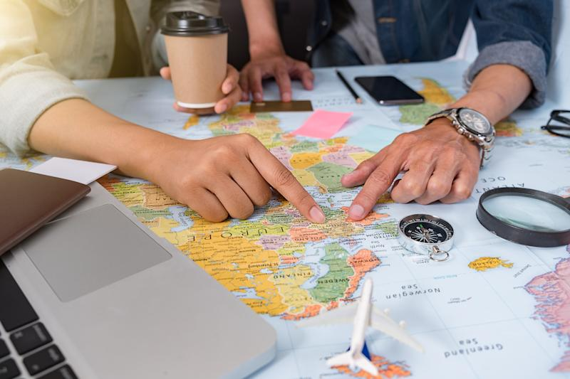 Tourist planing - travel plan, trip vacation, tourism mockup, outfit of traveler.