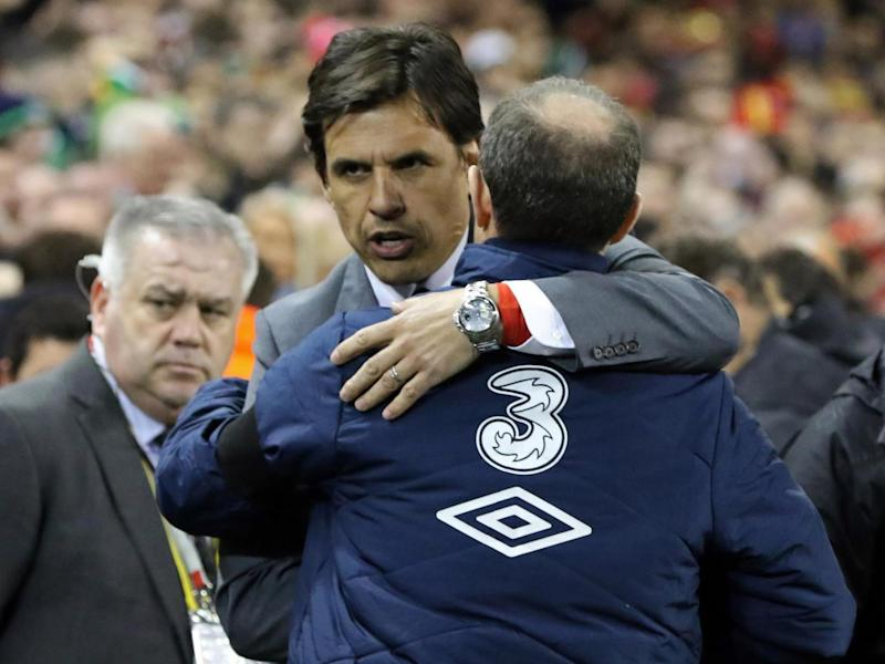 Coleman and O'Neill after the final whistle (Getty)