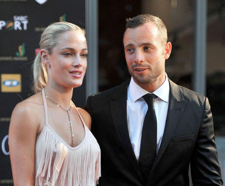 Steenkamp and Pistorius are seen at Feather Awards in Johannesburg on November 4, 2012