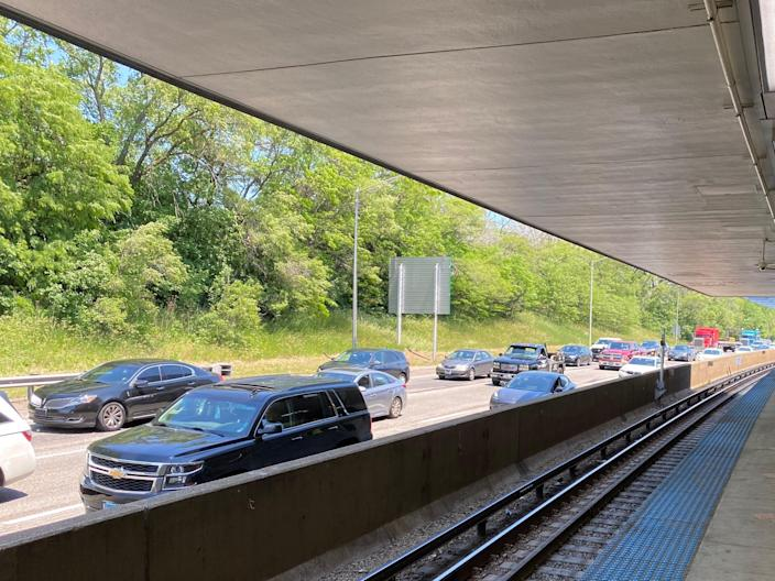 traffic in chicago as seen from the subway station