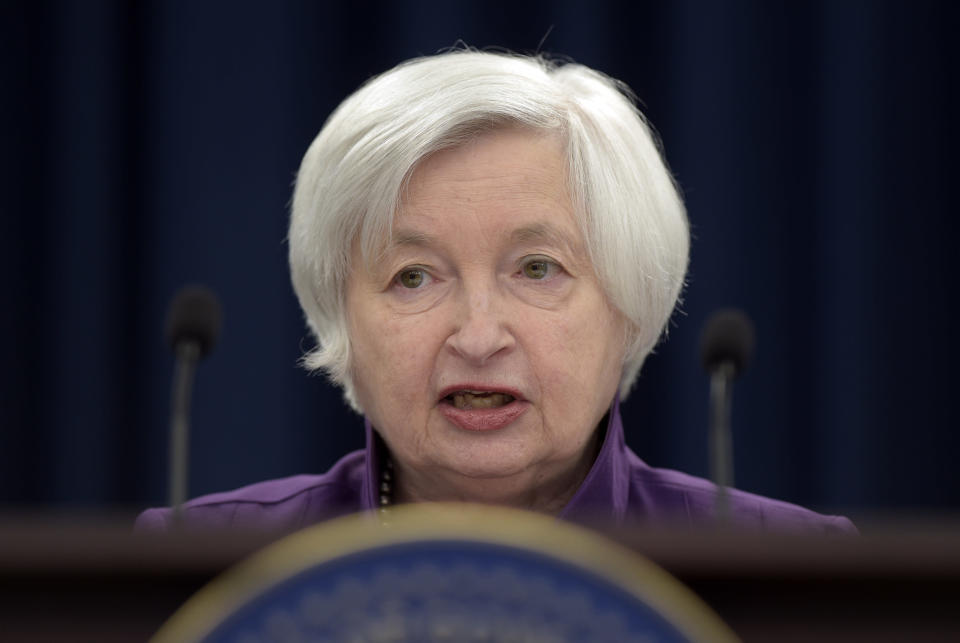 Fed Chair Janet Yellen speaks in Washington, to announce the Federal Open Market Committee decision on interest rates following a two-day meeting in June, 2017. The Fed wraps up a two-day meeting of its policymakers on Wednesday, Sept. 20, 2017. (AP Photo/Susan Walsh)