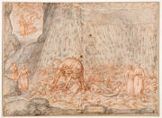 """This image made available on Thursday, Dec. 31, 2020, shows Cerberus, the two headed dog, one of the original 88 drawings that went with Dante Alighieri's Divine Comedy by artist Federico Zuccari. Florence's Uffizi Gallery is making available for viewing online 88 rarely displayed drawings of Dante's Divine Comedy to mark the 700th anniversary in 2021 of the famed Italian poet's death. The virtual show of high-resolution images of works by the 16th Century Renaissance artist Federico Zuccari will be accessible from Friday """"for free, any hour of the day, for everyone,'' said Uffizi director Eike Schmidt. (Roberto Palermo/Uffizi Gallery via AP)"""