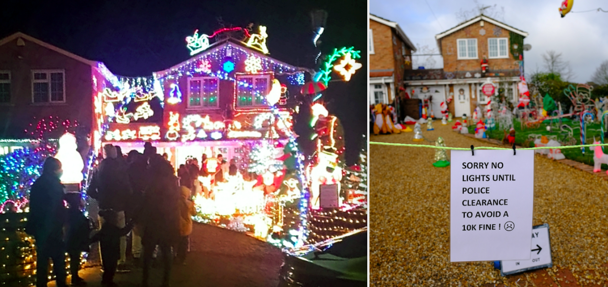 The Christmas lights have been switched off after police threatened the homeowner with a £10,000 fine. (SWNS)