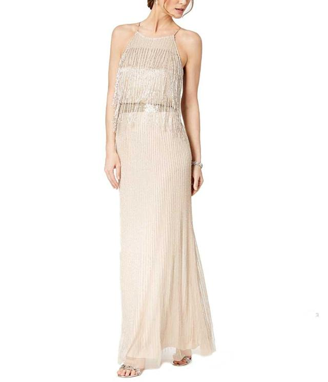 Ivory fringe silk dress. (Photo: Adriana Papell/Macy's)