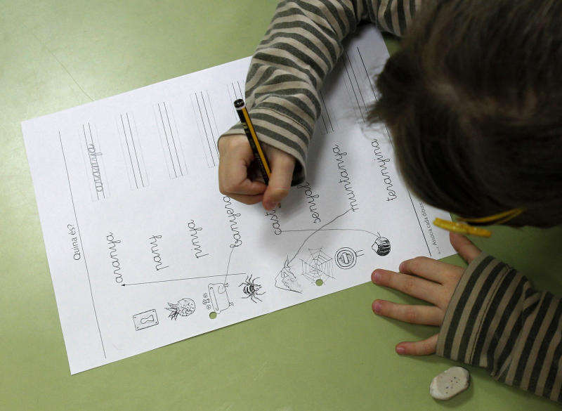 A pupil does handwriting exercises during a language class at a public school in El Masnou, near Barcelona, December 14, 2012. Spain's leader vowed on Friday to press on with an education reform that has fueled separatist sentiment in Catalonia, where politicians were closing on a pact that could lead to a vote on independence. REUTERS/Albert Gea (SPAIN - Tags: POLITICS EDUCATION)