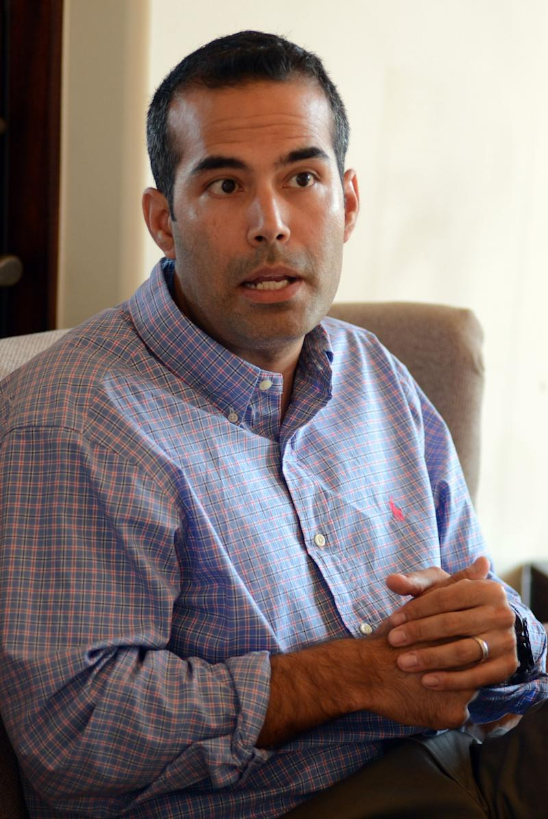 In this photo taken June 25, 2013, George P. Bush, 37, speaks during an interview with The Associated Press in Frisco, Texas. (AP Photo/Benny Snyder) -- Son of Jeb Bush & Columba Bush -- Brother of Noelle Bush, Jeb Bush Jr.