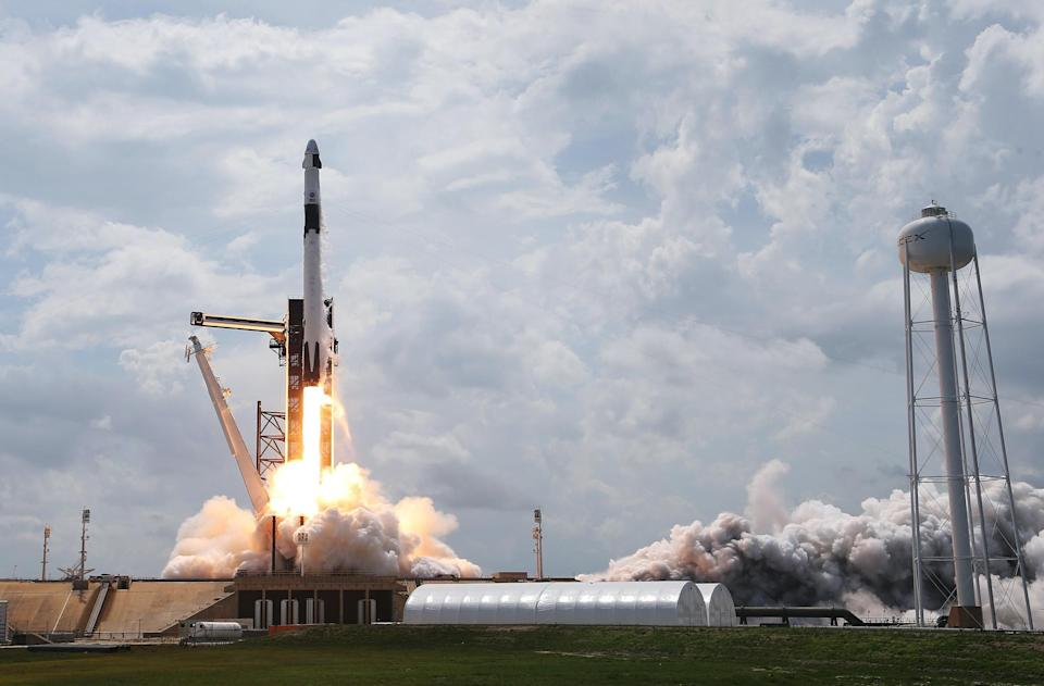 The SpaceX Falcon 9 rocket with the manned Crew Dragon spacecraft attached takes off from launch pad 39A at the Kennedy Space Center on May 30, 2020 in Cape Canaveral, Florida: Getty