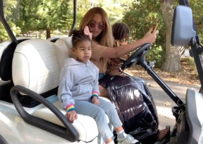 During one point in the video, Beyonce asks her kids how they are enjoying summer 2020. (Sounds like mixed reviews to us.) (Instagram)