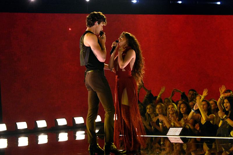 Shawn Mendes and Camila Cabello steamed up the stage at the 2019 American Music Awards. (Photo by Kevin Mazur/AMA2019/Getty Images for dcp)