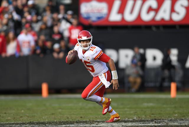 "<a class=""link rapid-noclick-resp"" href=""/nfl/players/30123/"" data-ylk=""slk:Patrick Mahomes"">Patrick Mahomes</a> is 77 passing yards from reaching the 4,000-yard passing mark this season. (Getty Images)"