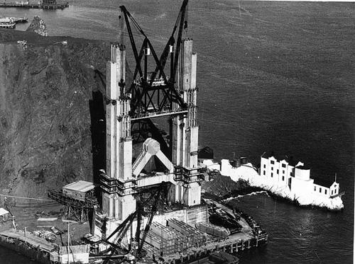 The Marin tower of the Golden Gate Bridge under construction in 1933. From the holdings of the Golden Gate Bridge, Highway and Transportation District, Used with Permission, www.goldengate.org