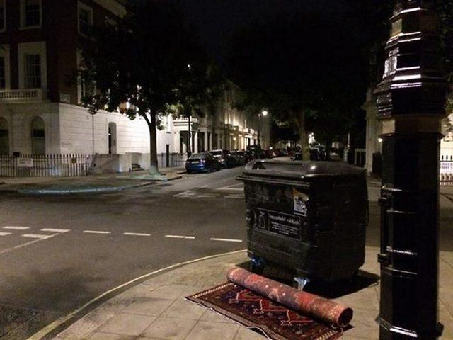 A carpet abandoned on a street in central London (Westminster Council/PA)