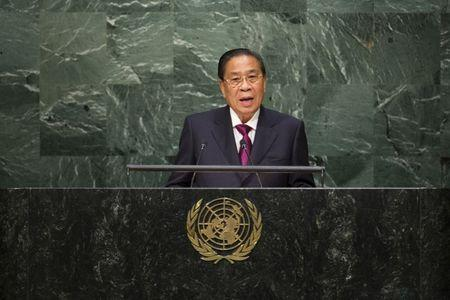 Laos President Sayasone addresses attendees during the 70th session of the United Nations General Assembly at the U.N. Headquarters in New York