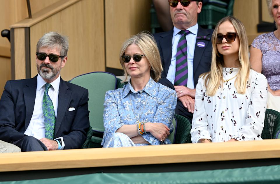 LONDON, ENGLAND - JULY 11: Timothy Taylor, Lady Helen Taylor and Amelia Windsor attend Wimbledon Championships Tennis Tournament at All England Lawn Tennis and Croquet Club on July 11, 2021 in London, England. (Photo by Karwai Tang/WireImage)
