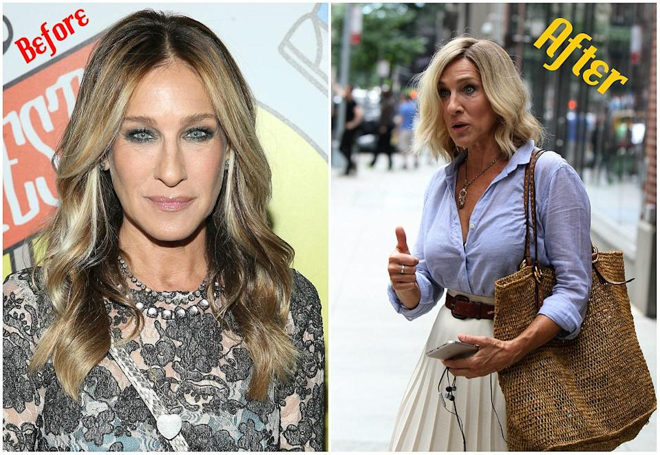 <p>Sarah Jessica Parker has favoured her dark brown-to-ash blonde ombré hair colour for years, but recently the former 'Sex and the City' star chopped her long, layered tresses in exchange for an above-the-shoulder platinum blonde lob! She debuted the lighter, shorter 'do to Instagram while on set of her new flick, 'Best Day of My Life.' Even with Parker promoting her movie, all fans could talk about was how gorgeous her hair looked. (Photos via Getty. When: July 2017) </p>