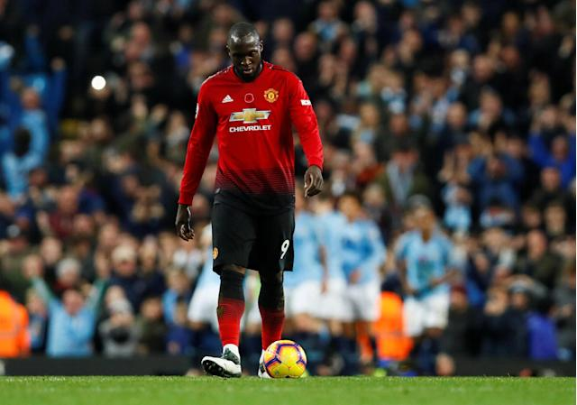 """Soccer Football - Premier League - Manchester City v Manchester United - Etihad Stadium, Manchester, Britain - November 11, 2018 Manchester United's Romelu Lukaku looks dejected after Manchester City's third goal Action Images via Reuters/Jason Cairnduff EDITORIAL USE ONLY. No use with unauthorized audio, video, data, fixture lists, club/league logos or """"live"""" services. Online in-match use limited to 75 images, no video emulation. No use in betting, games or single club/league/player publications. Please contact your account representative for further details."""