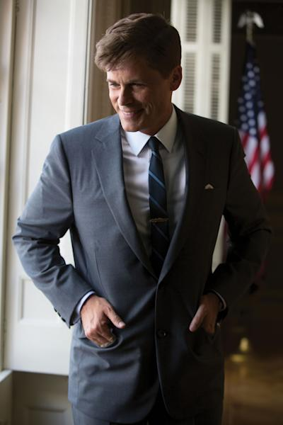 "This image released by National Geographic Channels shows Rob Lowe as President John F. Kennedy in ""Killing Kennedy."" The film, based on Fox News host Bill O'Reilly and Martin Dugard's book by the same name, chronicles the events that culminated with the assassination of the nation's 35th president on Nov. 22, 1963. It airs Sunday on National Geographic Channel. ??(AP Photo/National Geographic Channels, Kent Eanes)"