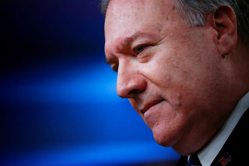 U.S. Secretary of State Pompeo addresses news briefing at the State Department in Washington