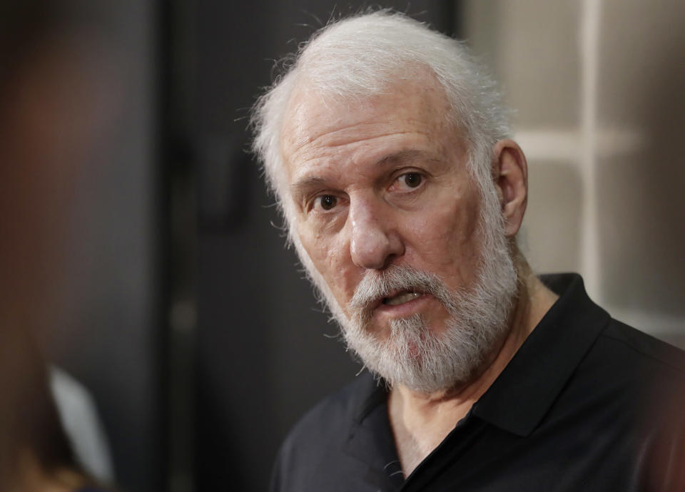 Spurs coach Gregg Popovich pulled no punches when discussing President Donald Trump's recent remarks about sports. (AP)