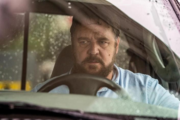 """Russell Crowe in the thriller """"Unhinged,"""" which has changed release dates multiple times in an effort to be one of the first movies available when major theater chains reopen. <span class=""""copyright"""">(Skip Bolen / Solstice Studios)</span>"""