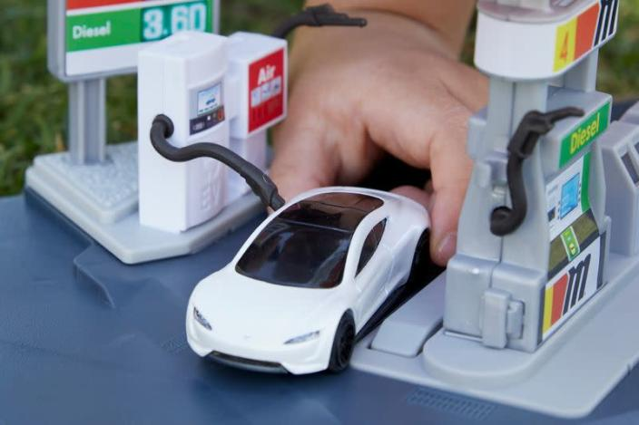 Matchbox's Tesla Roadster die-cast toy made from recyclable materials