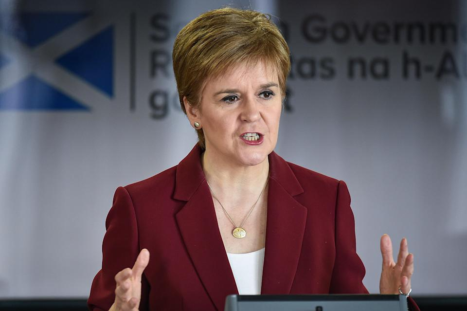 First Minister Nicola Sturgeon speaking at a coronavirus briefing at St Andrews House in Edinburgh (Jeff J Mitchell/PA) (PA Archive)